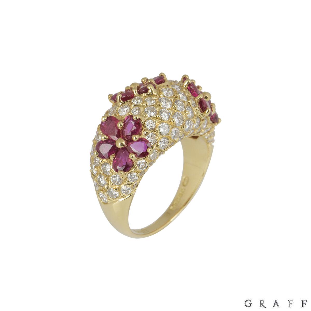Graff Yellow Gold Diamond And Ruby Set Ring